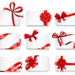 Festive cards with red gift ribbons. — Stock Vector #63810537