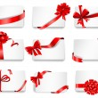 Festive cards with red gift ribbons. — Stock Vector #63810541