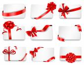 Festive cards with red gift ribbons. — Stock Vector