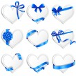 Set of beautiful heart-shaped cards with blue gift bows. — Stockvektor  #65055149