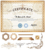 Certificate or coupon template with vintage border and additional design elements — Stock Vector