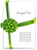 Greeting card with a green ribbon. — Stock Vector