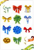 Set of gift bows with ribbons. — Stock Vector