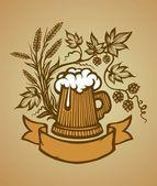Wooden beer mug — Stock Vector