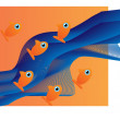 Six small orange fishes — Stock Vector #59927179