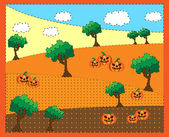 Picture of trees a pumkins — Stock Vector