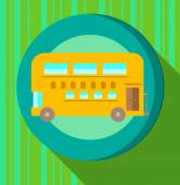 Yellow bus on green striped background — Stock Vector
