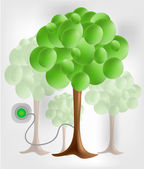 3d green tree with electrical socket — Stock Vector