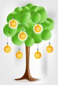 3d green tree with electical yellow pear bulbs — Stock Vector