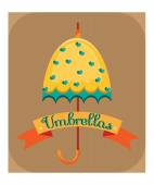 Yellow umbrella with blue hearts — Stock Vector