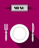 Card of menu with white plate and fork and knife, flat design — Stock Vector