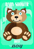 Baby shower - it is a boy, brown hairy bear, green background — Stock Vector