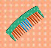 Hair salon - isolated comb on pink dotted background — Stock Vector