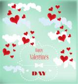 Valentines card with red hearts — Stock Vector