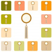 Set of magnifier icons — Stock Vector
