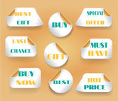 Set of stickers with text last chance, buy now, best, gift, hot price, must have, best offer — Stock Vector