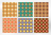 Retro set of six floral patterns - blue, orange, brown, yellow, pink colors — Stock Vector