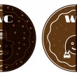 Set of two, brown, dotted toilet stickers, text WC — Stock Vector #62873173