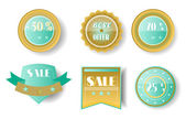 Set of colorful - yellow, blue, brown labels with text Best Offer, Sale — Stock Vector