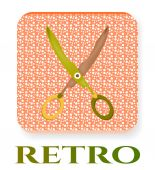 Isolated scissors on dotted background with text Retro — Stock Vector