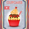 Card - blue, red - Cupcake with bows and cherry on dotted background — Stock Vector #64978907
