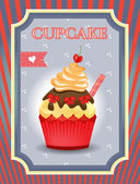 Card - blue, red - Cupcake with bows and cherry on dotted background — Stock Vector