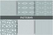 Set of six beautiful, seamless patterns — Stockvektor
