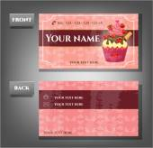 Romantic business card - front, back with cupcake — Stok Vektör