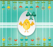 Easter card with egg, chick and flowers on dotted background — ストックベクタ