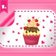 Card with one modern, label with cupcake — Stock Vector #67181601
