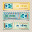 Set, collection of three, blue, yellow, retro banners with fish and text — Stock Vector #67759355