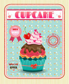 Colored cupcake with red cherry, bow, pink hearts, dotted background, text — Stock Vector