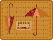 Dark yellow flyer with two umbrellas with pattern - dots, text, retro design — Wektor stockowy