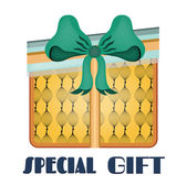 Yellow, isolated gift with pattern, blue bow, retro design, text Special Gift — Stok Vektör