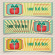 Set, collection of three, blue, yellow, retro banners  with dotted present with bow — Stock Vector #68278111