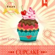 Colored card with cupcake with red cherry, bow, pink hearts, striped background, pattern, text — Stock Vector #68322035