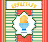 Colorful, striped card with yellow egg, text Breakfast, retro design — Stockvector