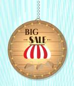 One, isolated, hanging, wooden, round sign - with striped awning, shopping bags, text Big Sale — Stock Vector
