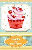 Dotted birthday card with red cupcake with cream, hearts and cherries, text Happy Birthday — Stock Vector