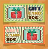 Set of two vintage, elegant, striped, green, orange gift card with dotted, red gift with bow, text, retro design — Stock Vector