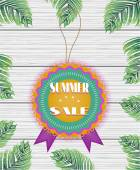 One beautiful, colorful, rounded sticker with text Summer Sale on white, wooden background with green palm leaves — Stock Vector
