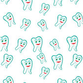Seamless pattern with blue, smiling teeth on white background — Stock Vector