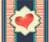 Vintage, striped valentines card with huge, red heart, retro design — Vettoriale Stock