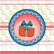 Red, blue, dotted, striped card with gift with bow, pattern with flowers — Stock Vector #69013689