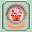 Vintage card with cupcake with red cherries, bow, pink hearts, dotted background, pattern, retro design — Stock Vector #69265693