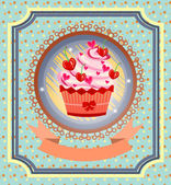 Vintage card with cupcake with red cherries, bow, pink hearts, dotted background, pattern, retro design — Stock Vector