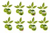 Funny set, collection of olives with leaves and face - sadness, crying, surprise, anger, joy, disgust, malice, resentfulness.. — Stock Vector