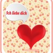 Valentines card with red heart, text Ich liebe dich - I love you, background with cherries — Stock Vector #69582169