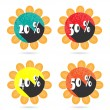 Set, collection, group of four isolated, sun, flat, colorful buttons, icons, signs, labels, stickers, 20, 30, 40, 50 percent discount, sale — Stock Vector #69582267