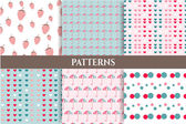 Set, collection of six romantic, blue, pink, seamless patterns with strawberries, dots, hearts, umbrellas — Stock Vector